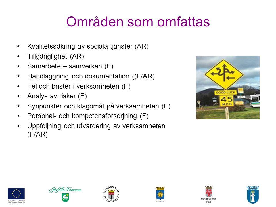 Områden som omfattas Kvalitetssäkring av sociala tjänster (AR)