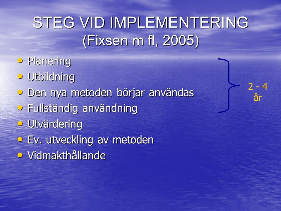 STEG VID IMPLEMENTERING (Fixsen m fl, 2005)