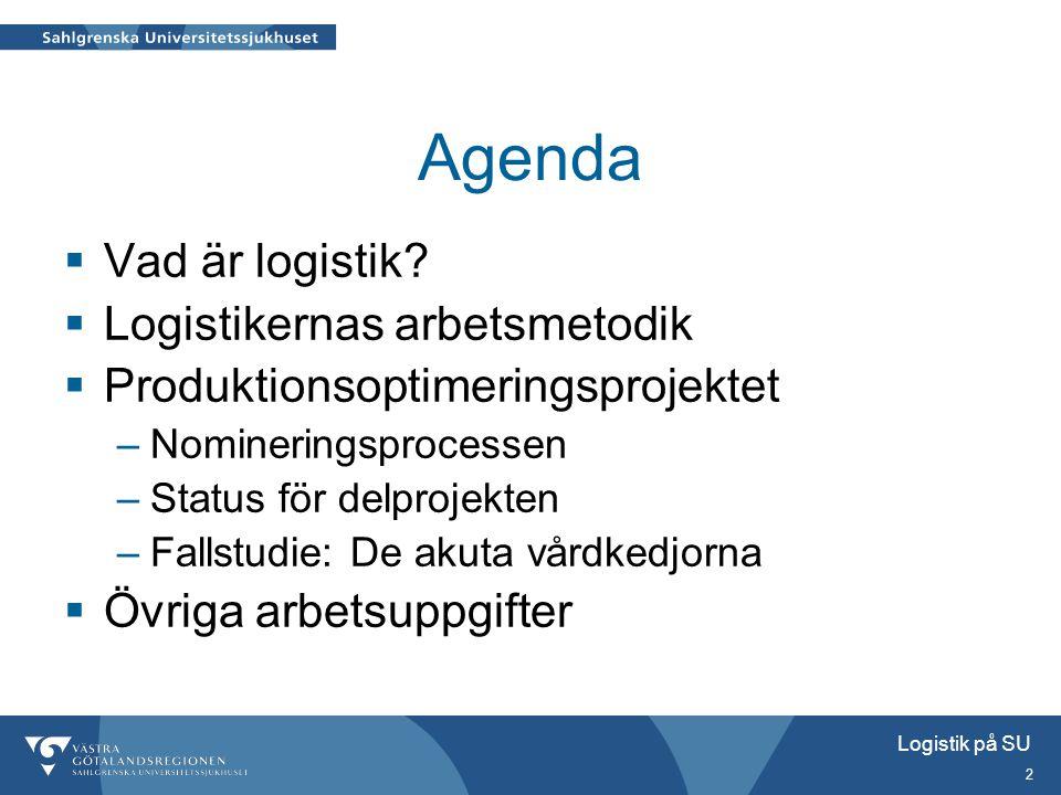 Agenda Vad är logistik Logistikernas arbetsmetodik