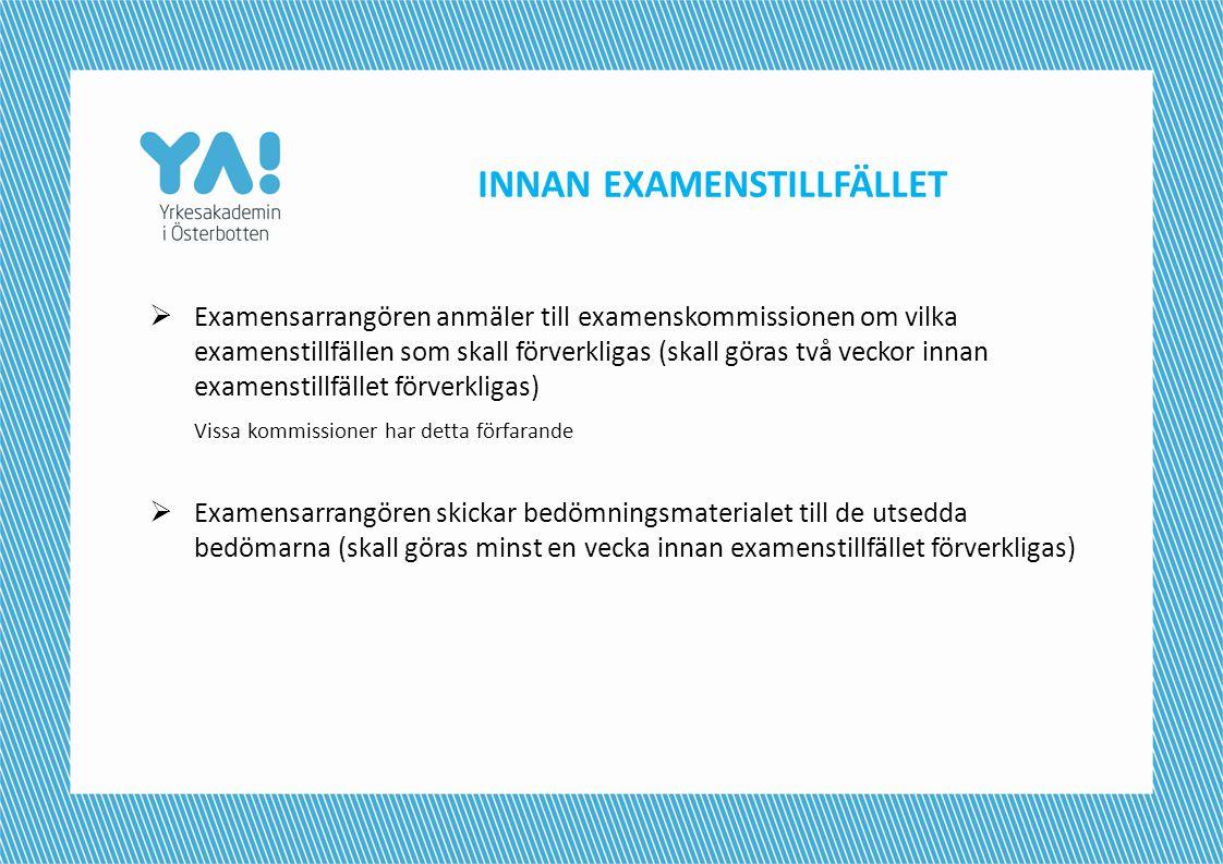 INNAN EXAMENSTILLFÄLLET
