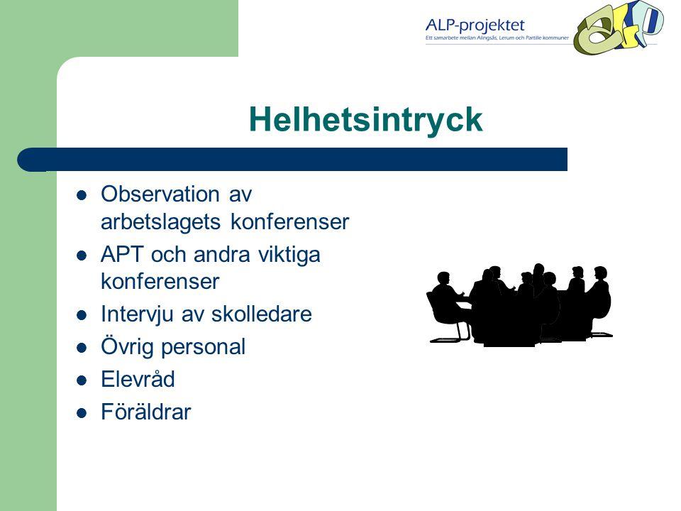 Helhetsintryck Observation av arbetslagets konferenser