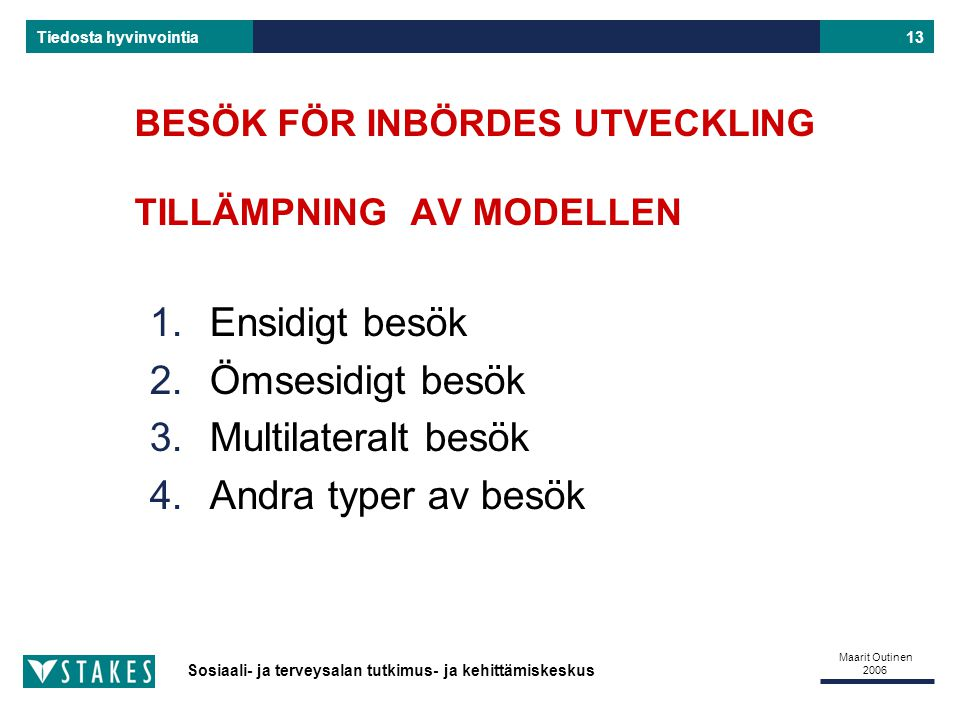 BESÖK FÖR INBÖRDES UTVECKLING TILLÄMPNING AV MODELLEN