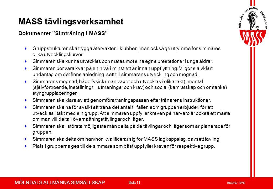 MASS tävlingsverksamhet Dokumentet Simträning i MASS