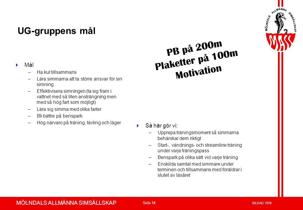 PB på 200m Plaketter på 100m Motivation UG-gruppens mål Mål