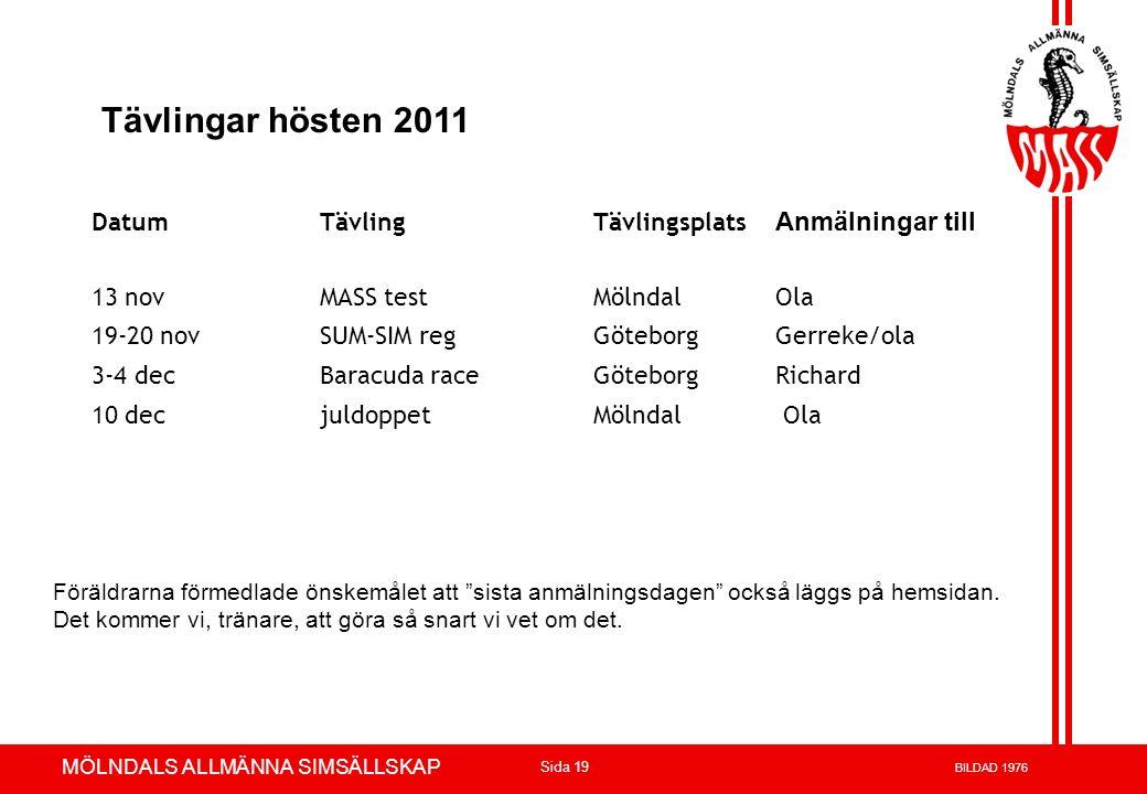 Tävlingar hösten 2011 Anmälningar till Datum Tävling Tävlingsplats