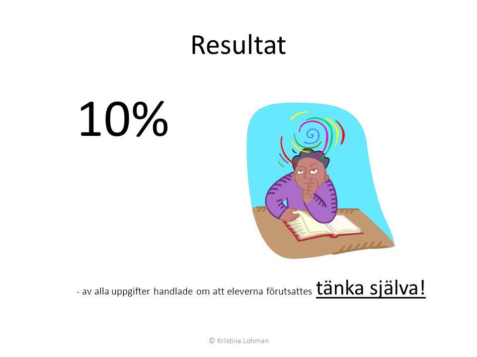 Resultat 10% - av alla uppgifter handlade om att eleverna förutsattes tänka själva.