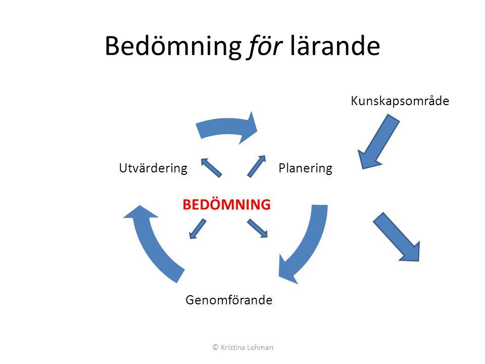 Bedömning för lärande BEDÖMNING Kunskapsområde Planering Genomförande