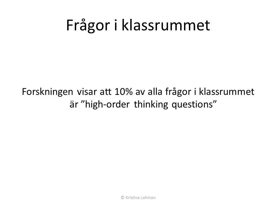 Frågor i klassrummet Forskningen visar att 10% av alla frågor i klassrummet är high-order thinking questions