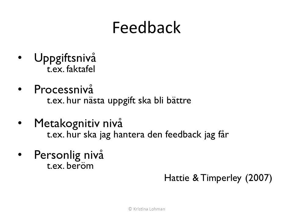 Feedback Uppgiftsnivå Processnivå Metakognitiv nivå Personlig nivå
