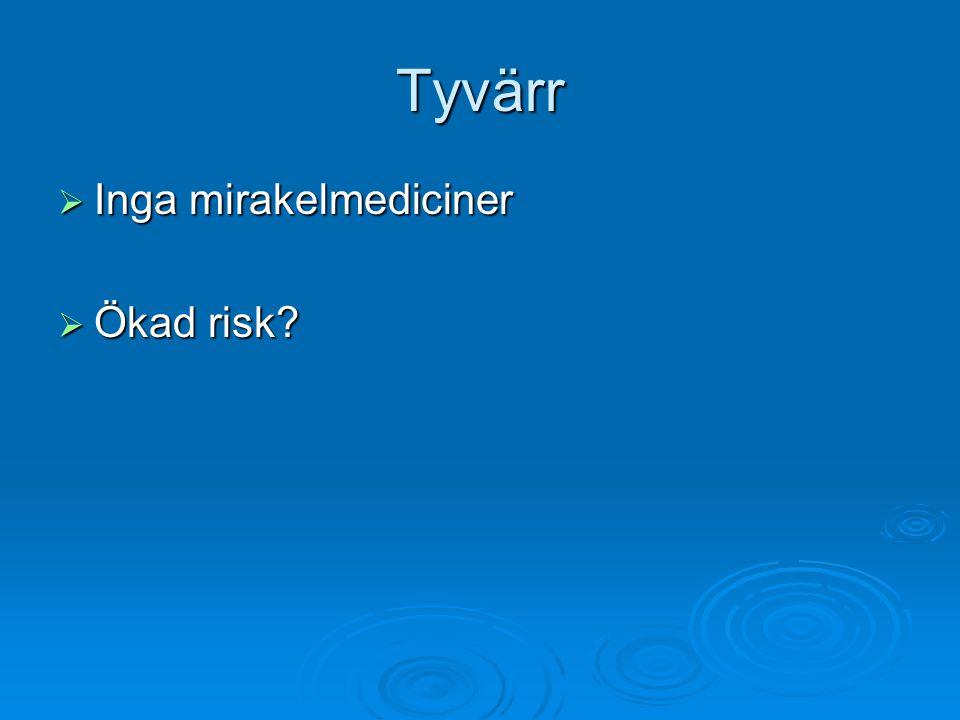 Tyvärr Inga mirakelmediciner Ökad risk