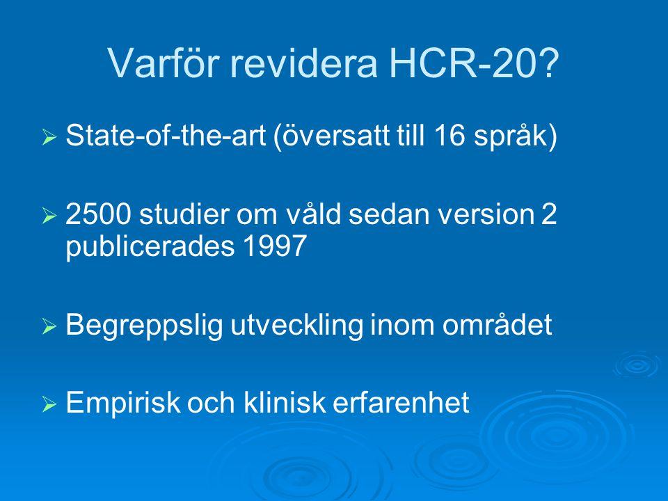 Varför revidera HCR-20 State-of-the-art (översatt till 16 språk)