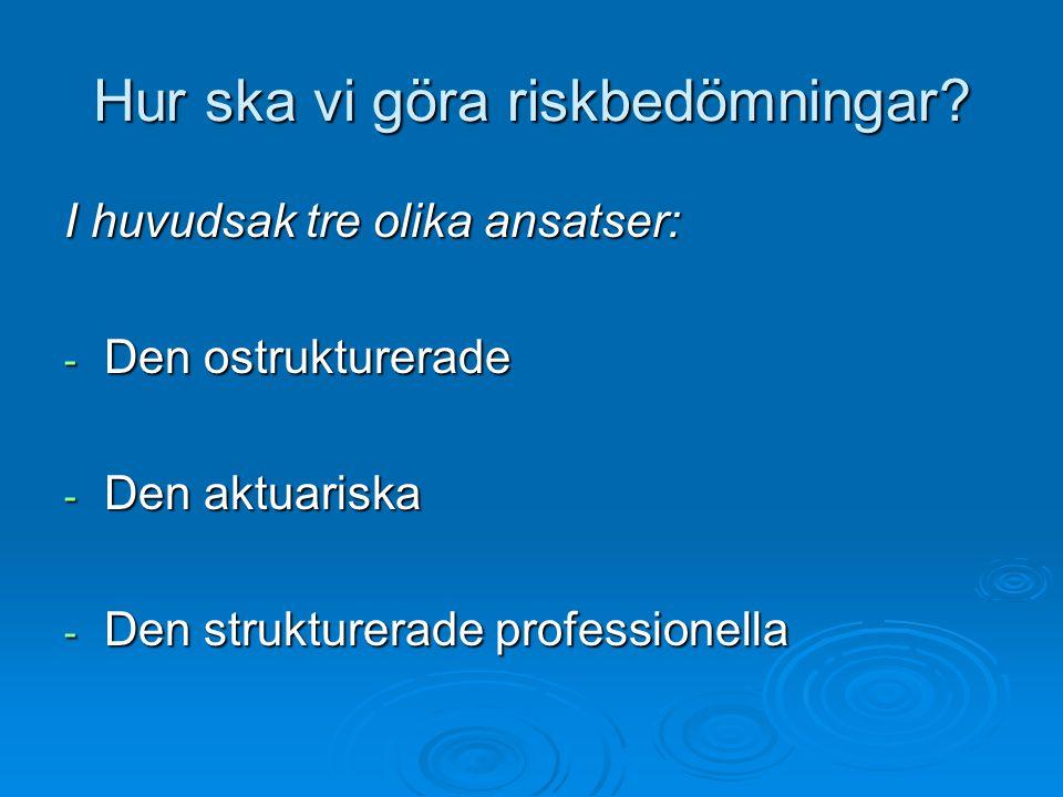 Hur ska vi göra riskbedömningar