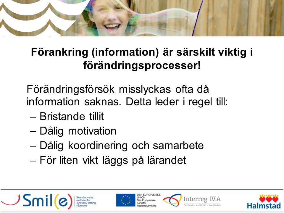 Förankring (information) är särskilt viktig i förändringsprocesser!