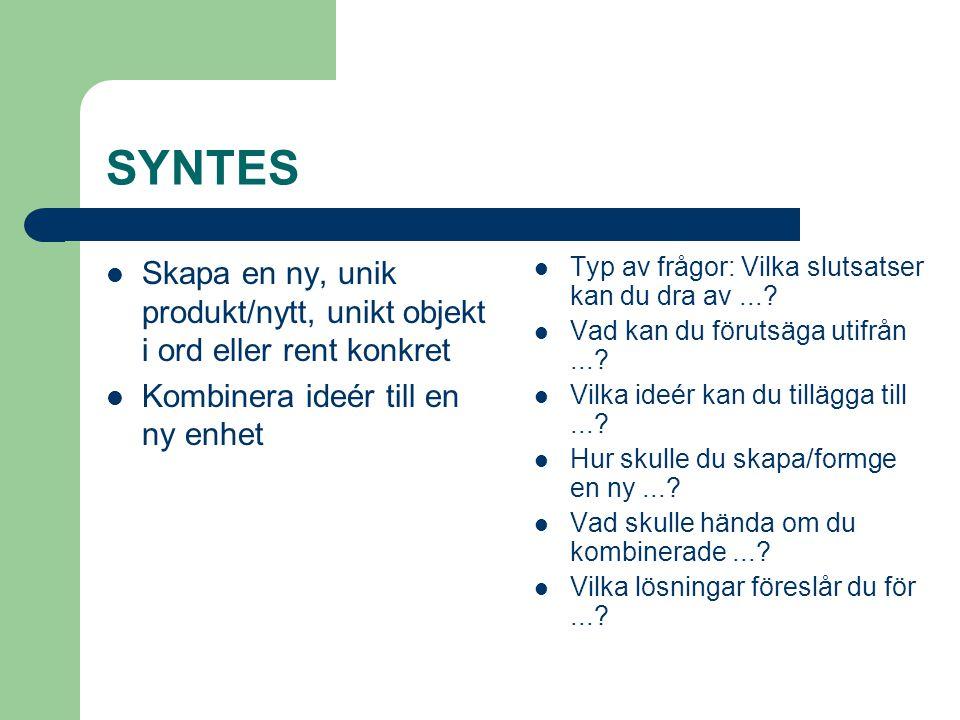 SYNTES Skapa en ny, unik produkt/nytt, unikt objekt i ord eller rent konkret. Kombinera ideér till en ny enhet.