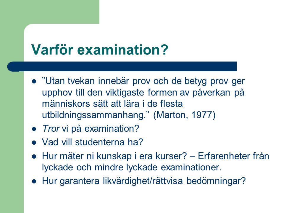 Varför examination