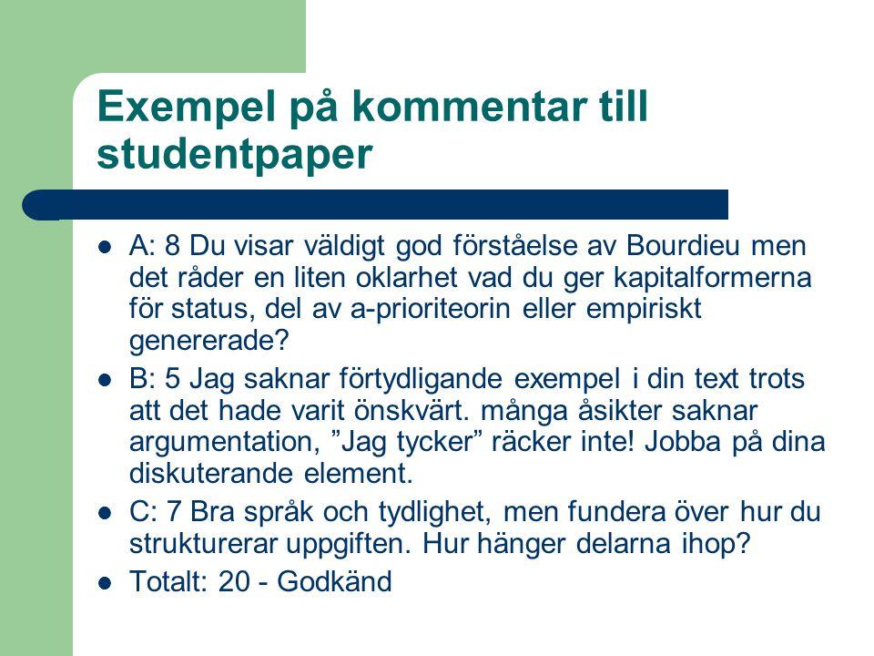 Exempel på kommentar till studentpaper