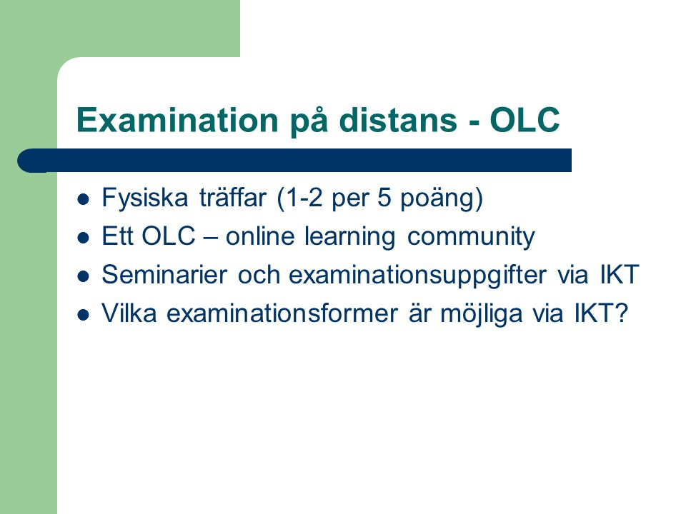 Examination på distans - OLC