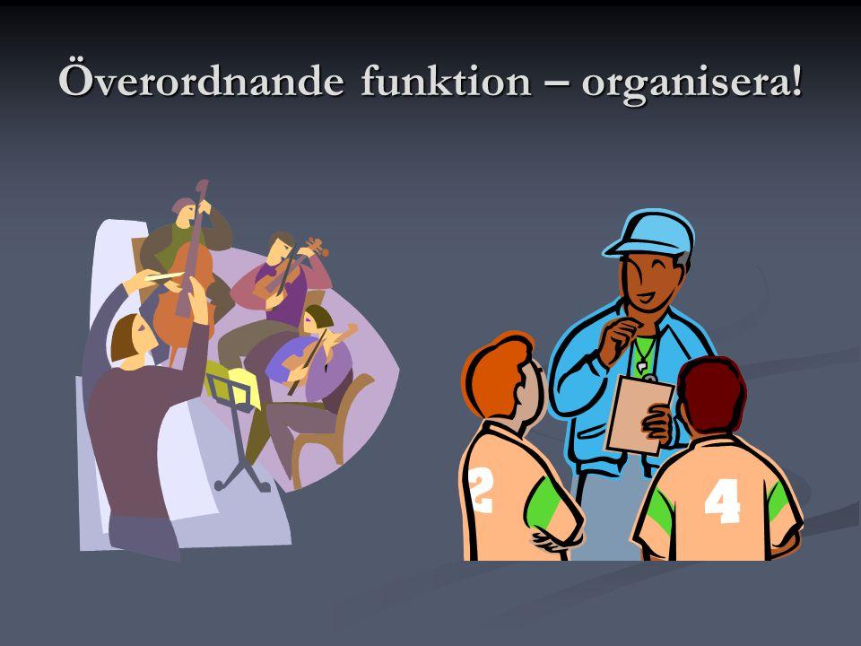 Överordnande funktion – organisera!