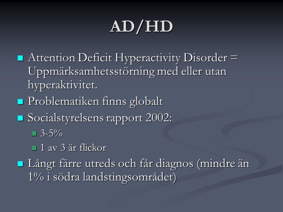 AD/HD Attention Deficit Hyperactivity Disorder = Uppmärksamhetsstörning med eller utan hyperaktivitet.