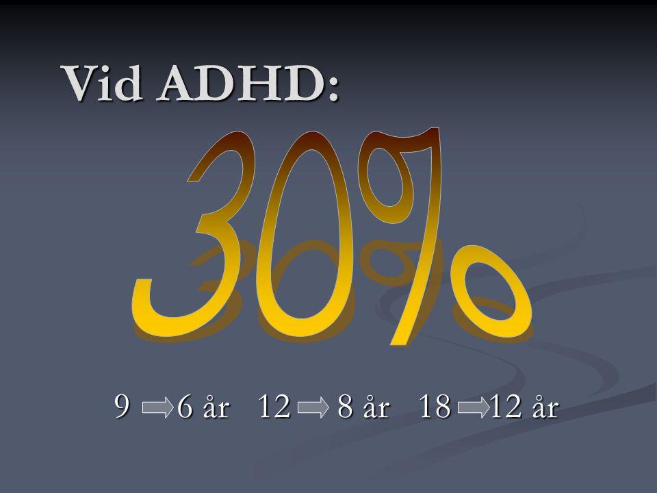 Vid ADHD: 30% 9 6 år 12 8 år 18 12 år