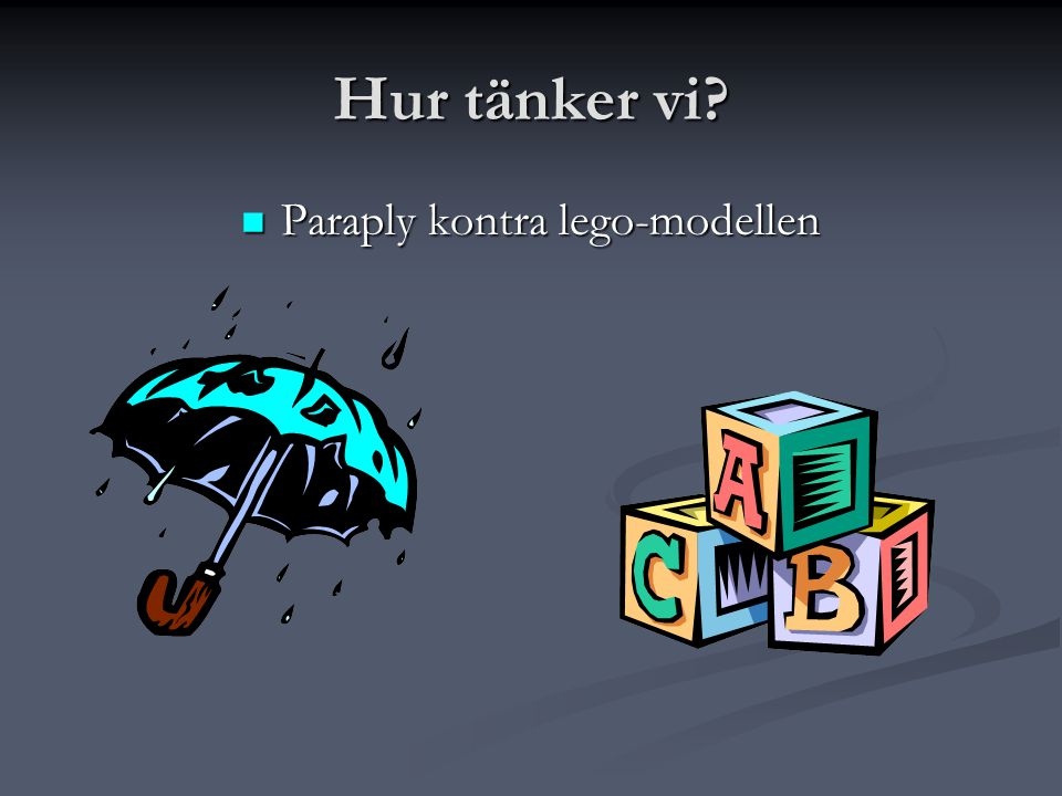 Paraply kontra lego-modellen