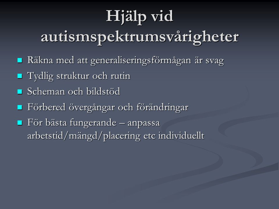 Hjälp vid autismspektrumsvårigheter
