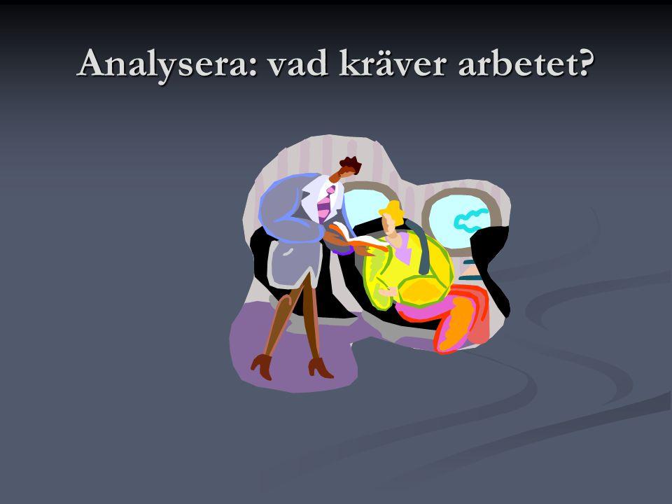 Analysera: vad kräver arbetet