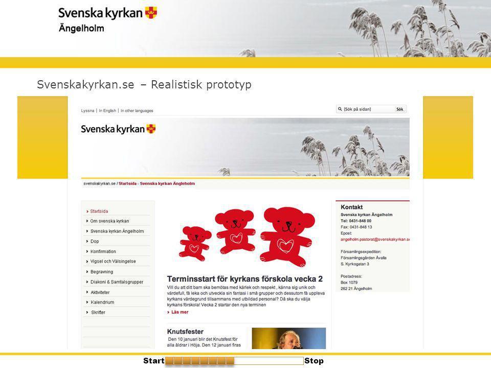 Svenskakyrkan.se – Realistisk prototyp