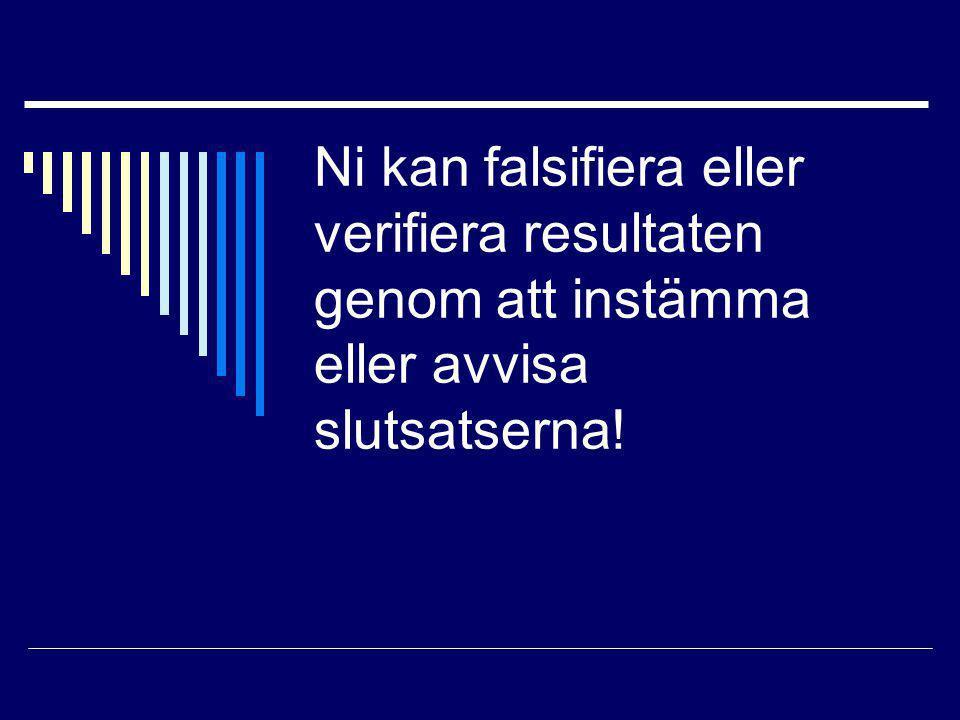 Ni kan falsifiera eller verifiera resultaten genom att instämma eller avvisa slutsatserna!