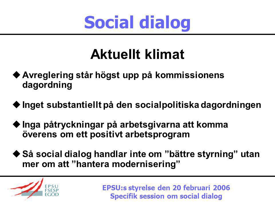 EPSU:s styrelse den 20 februari 2006 Specifik session om social dialog