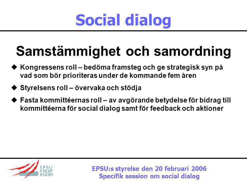 Social dialog Samstämmighet och samordning