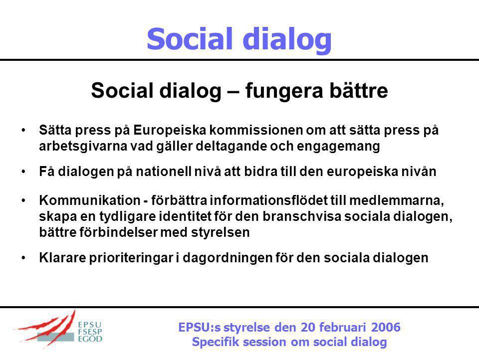 Social dialog Social dialog – fungera bättre
