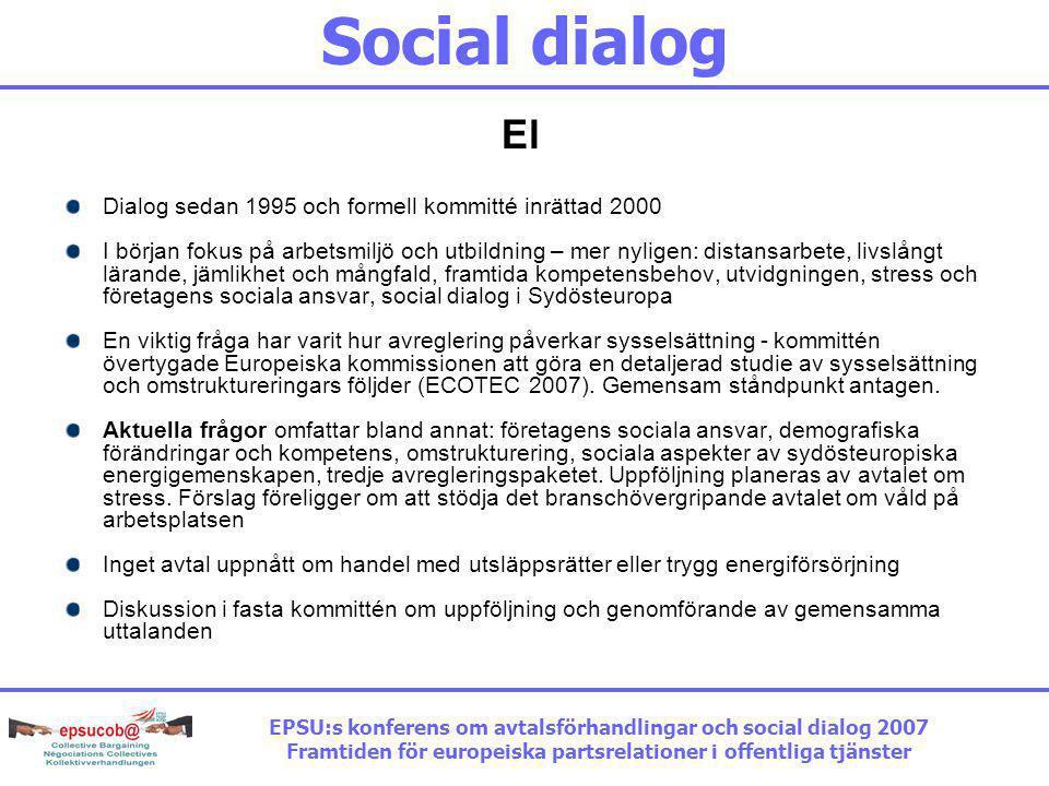 Social dialog El Dialog sedan 1995 och formell kommitté inrättad 2000