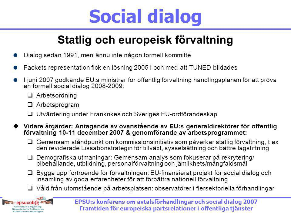 Social dialog Statlig och europeisk förvaltning