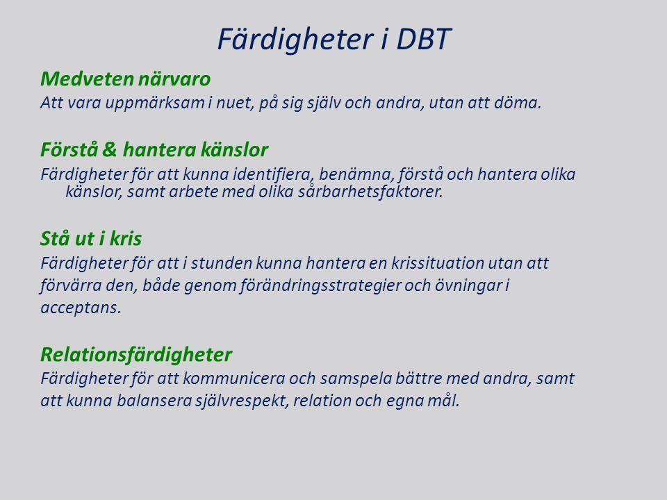Färdigheter i DBT Medveten närvaro Förstå & hantera känslor