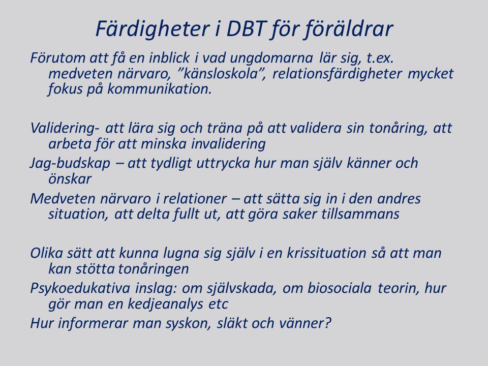 Färdigheter i DBT för föräldrar