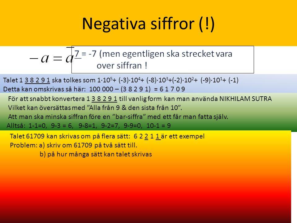 Negativa siffror (!) 7 = -7 (men egentligen ska strecket vara