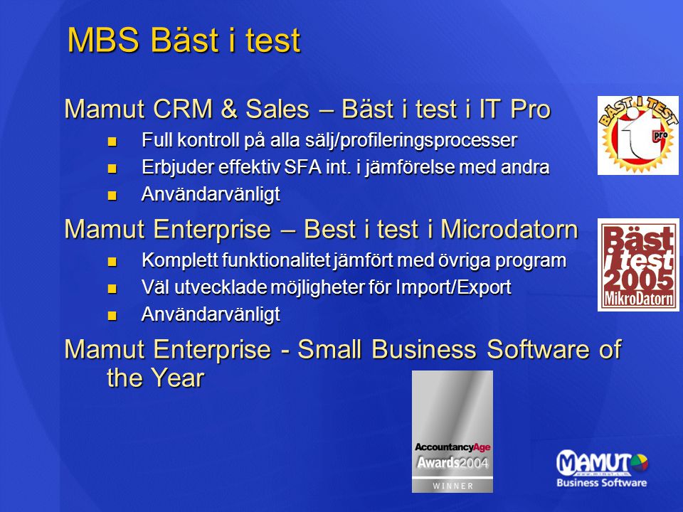 MBS Bäst i test Mamut CRM & Sales – Bäst i test i IT Pro