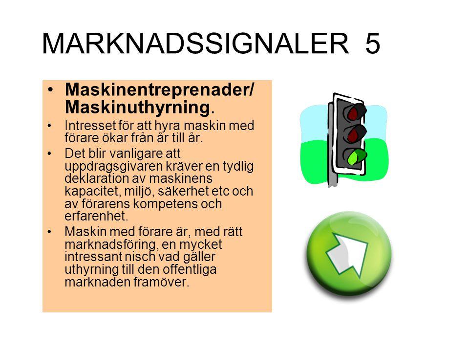 MARKNADSSIGNALER 5 Maskinentreprenader/ Maskinuthyrning.