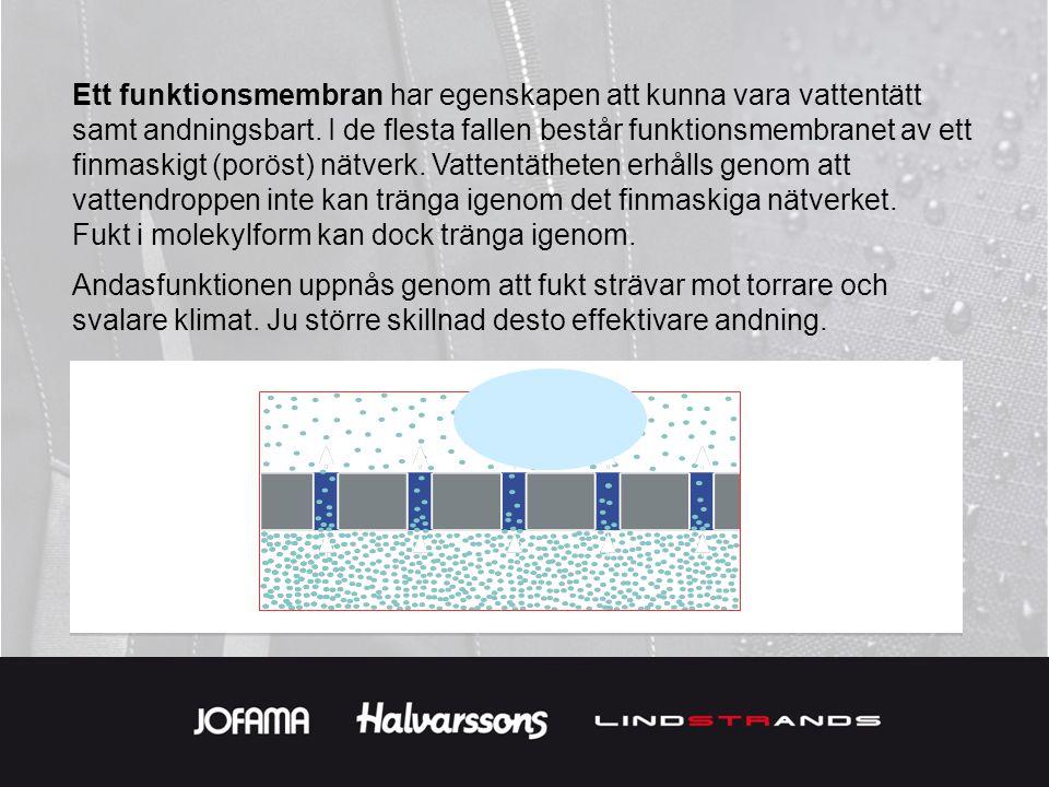 Ett funktionsmembran har egenskapen att kunna vara vattentätt samt andningsbart. I de flesta fallen består funktionsmembranet av ett finmaskigt (poröst) nätverk. Vattentätheten erhålls genom att vattendroppen inte kan tränga igenom det finmaskiga nätverket.