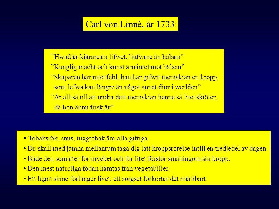 Carl von Linné, år 1733: Hwad är kiärare än lifwet, liufware än hälsan Kunglig macht och konst äro intet mot hälsan
