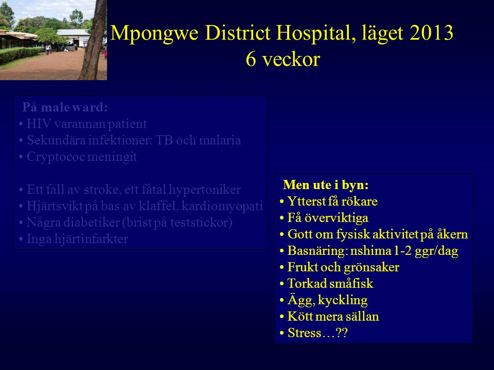 Mpongwe District Hospital, läget 2013 6 veckor