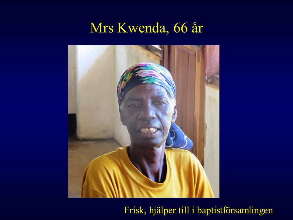Mrs Kwenda, 66 år Frisk, hjälper till i baptistförsamlingen