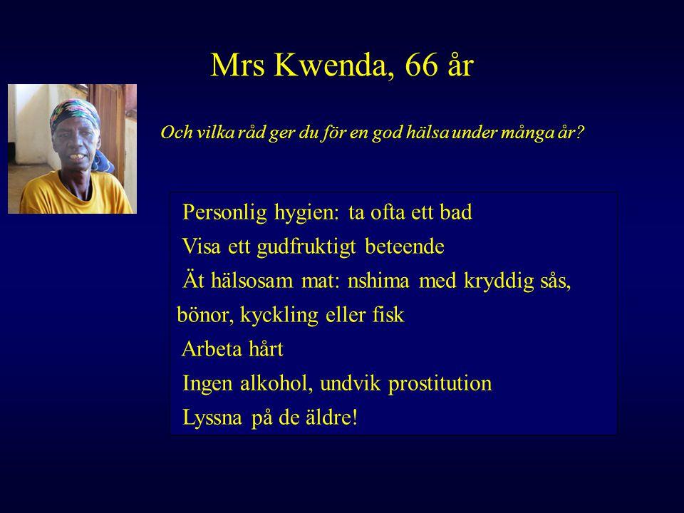 Mrs Kwenda, 66 år Och vilka råd ger du för en god hälsa under många år