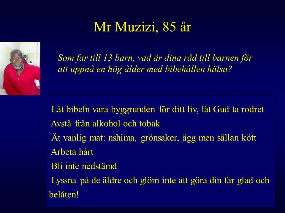 Mr Muzizi, 85 år Som far till 13 barn, vad är dina råd till barnen för att uppnå en hög ålder med bibehållen hälsa