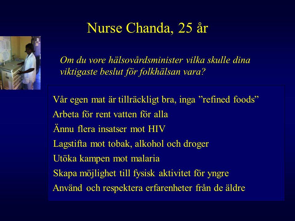 Nurse Chanda, 25 år Om du vore hälsovårdsminister vilka skulle dina viktigaste beslut för folkhälsan vara