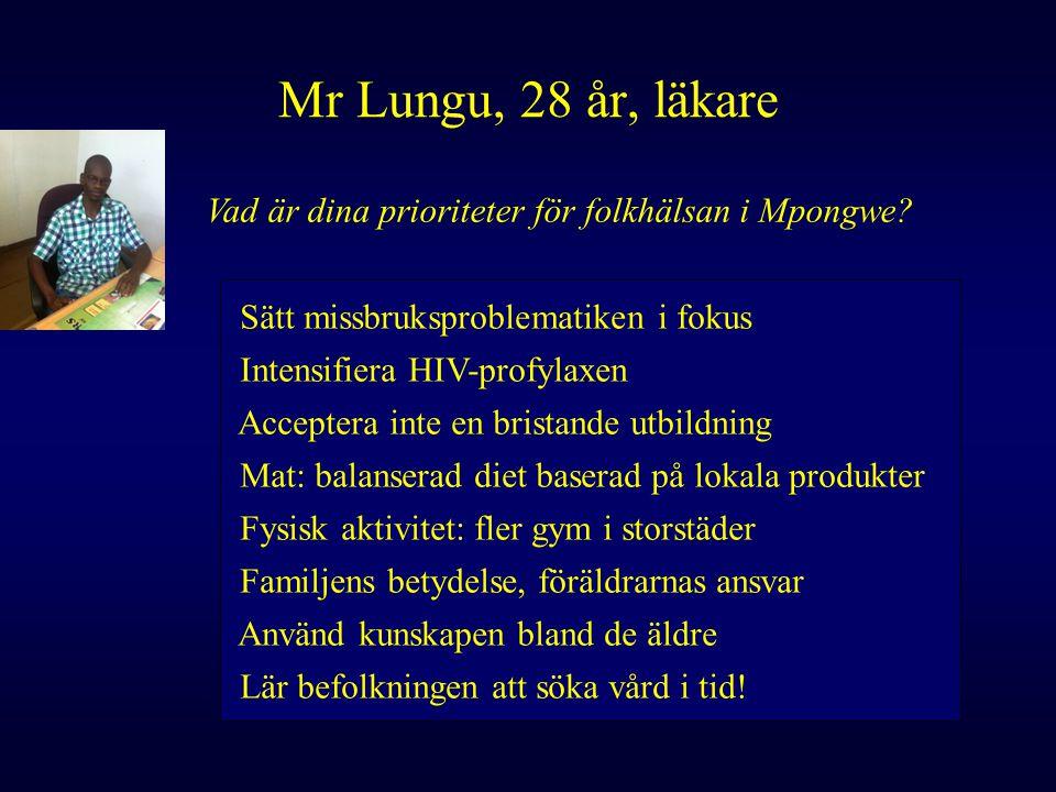 Mr Lungu, 28 år, läkare Vad är dina prioriteter för folkhälsan i Mpongwe