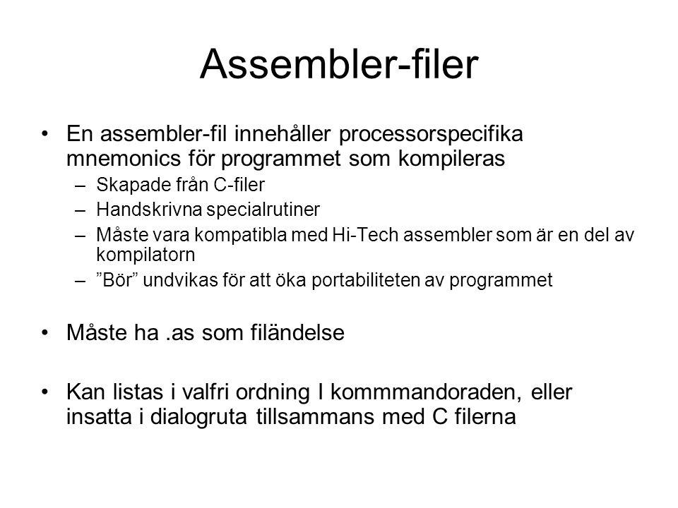 Assembler-filer En assembler-fil innehåller processorspecifika mnemonics för programmet som kompileras.