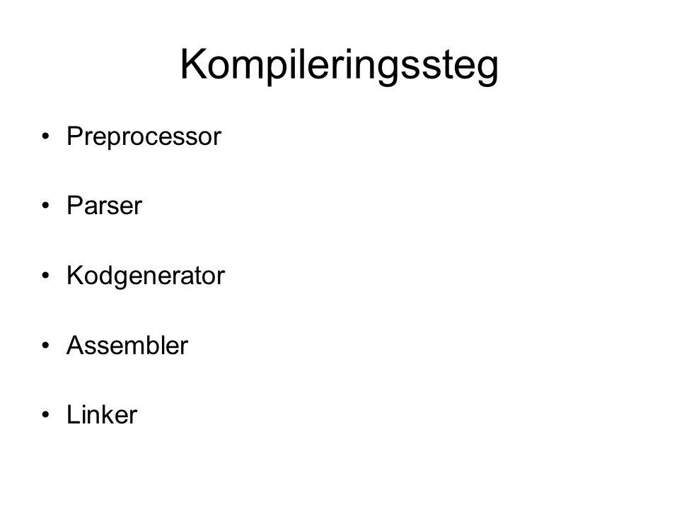 Kompileringssteg Preprocessor Parser Kodgenerator Assembler Linker