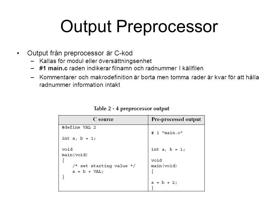 Output Preprocessor Output från preprocessor är C-kod